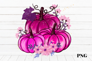 Print on Demand: Halloween Pink Pumpkins Fall Sublimation Graphic Illustrations By Suda Digital Art