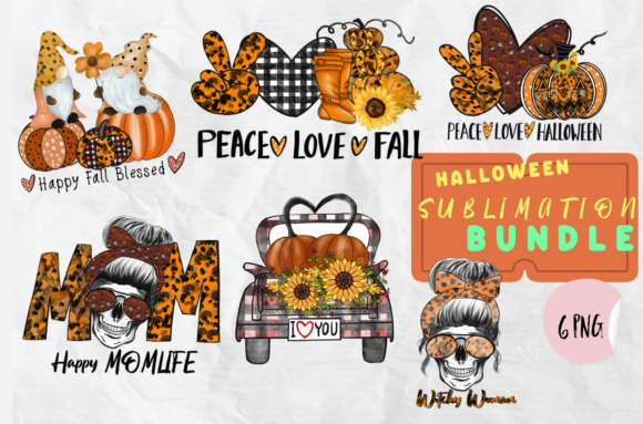 Print on Demand: Halloween Sublimation Fall Bundle Graphic Illustrations By Suda Digital Art
