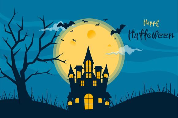 Halloween Background, Haunted House Graphic Logos By DEEMKA STUDIO
