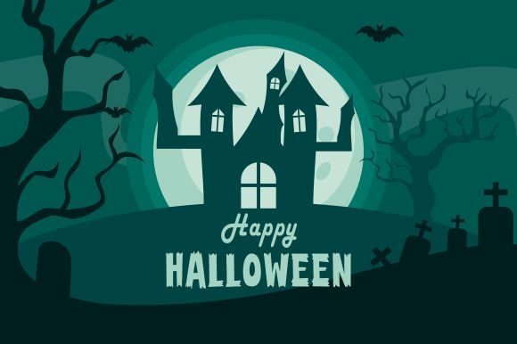 Halloween Background, Haunted House Grafik Logos von DEEMKA STUDIO