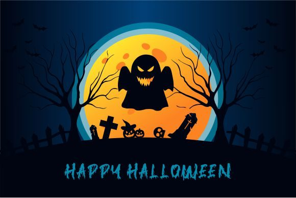 Halloween Background, Haunted House Graphic Logos By 2qnah