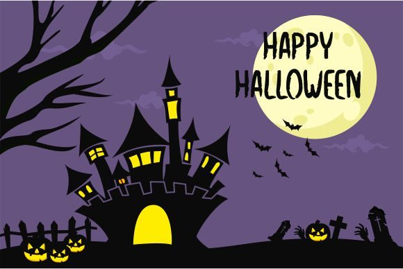 Halloween Background, Haunted House Gráfico Logos Por 2qnah