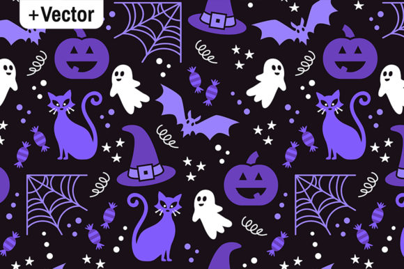 Print on Demand: Halloween Party Vector Pattern Purple Graphic Patterns By Dana Du Design