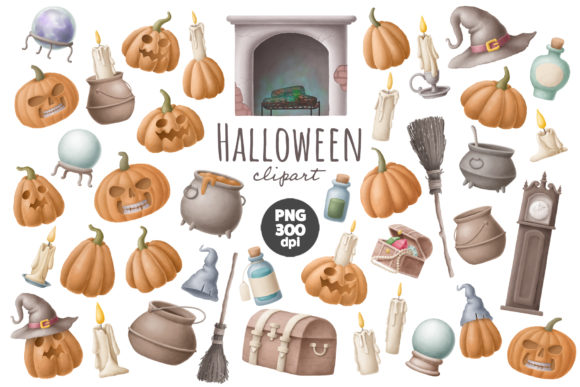 Print on Demand: Halloween Pumpkin Clipart Graphic Illustrations By Architekt_AT