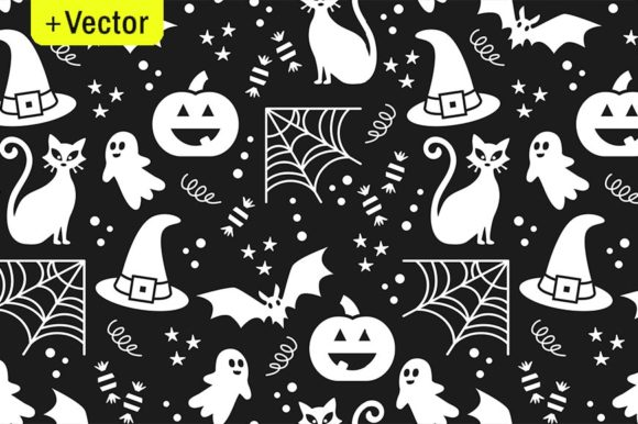 Print on Demand: Halloween Vector Black and White Pattern Graphic Illustrations By Dana Du Design