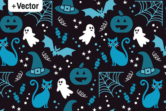 Print on Demand: Halloween Vector Pattern Blue Party Graphic Patterns By Dana Du Design