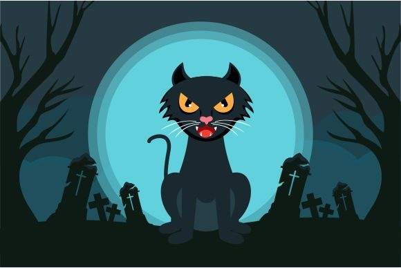 Hand Drawn Halloween Black Cat Design Graphic Logos By 2qnah