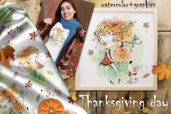 Happy Thanksgiving. Graphic Illustrations By grigaola