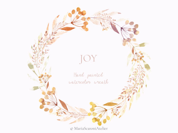 Print on Demand: JOY Hand Painted Watercolor Wreath Graphic Illustrations By MariaScaroniAtelier