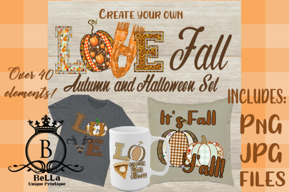 Love Fall and Halloween Set Graphic Objects By BellaUniquePrintique