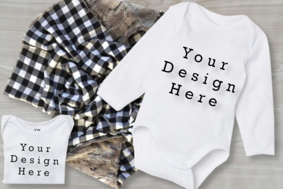 Mockup Babys Bodysuits, Baby White Shirt Graphic Product Mockups By MockupsByGaby