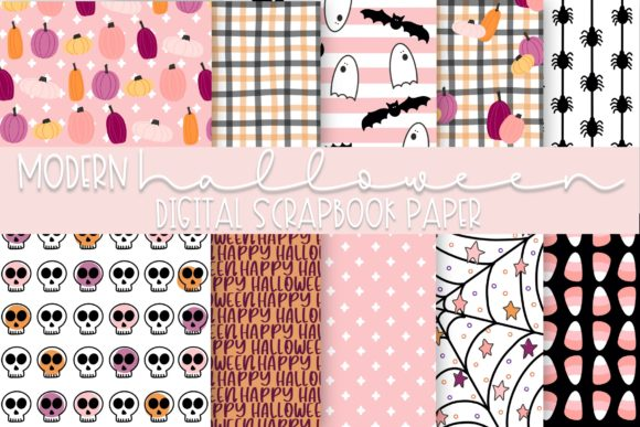 Print on Demand: Modern Cute Halloween Digital Paper Graphic Illustrations By Fairways and Chalkboards