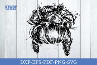 Print on Demand: Mom Messy Bun Hair HandDraw Graphic Crafts By KtwoP