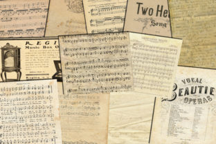 Print on Demand: Music Digital Paper, Music Sheets Paper Graphic Backgrounds By retrowalldecor