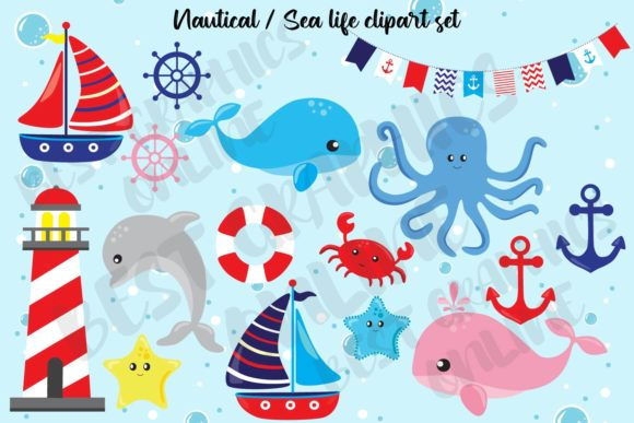 Nautical Clipart Sea Life Whale Dolphin Graphic Illustrations By bestgraphicsonline