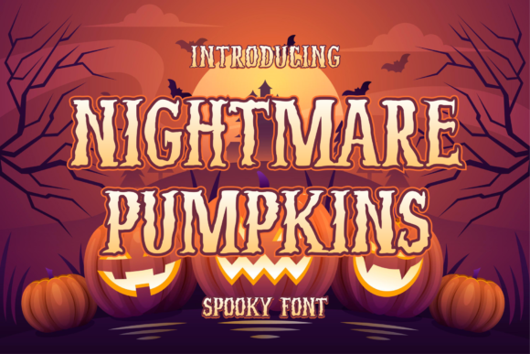 Print on Demand: Nightmare Pumpkins Display Font By MJB Letters