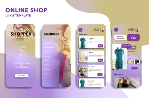 ONLINE SHOP MOBILE APP UI KIT TEMPLATE Graphic UX and UI Kits By hafidz.putra67