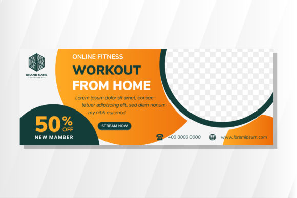 Print on Demand: Online Fitness Horizontal Banner Graphic Product Mockups By noory.shopper