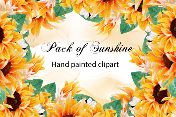 Print on Demand: Pack of Sunshine - Hand Painted Sunflower Graphic Illustrations By Andreea Eremia Design
