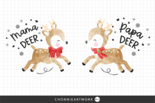 Print on Demand: Papa Deer and Mama Deer Graphic Print Templates By Chonnieartwork