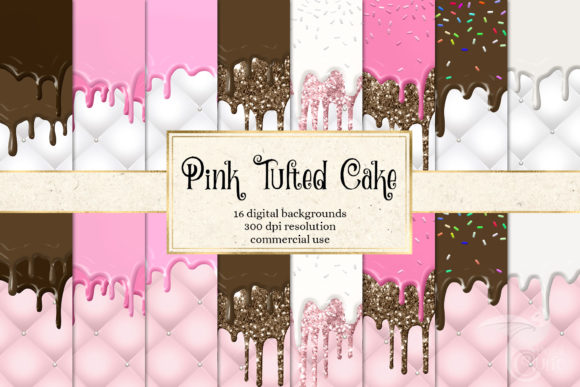 Print on Demand: Pink Tufted Cake Digital Paper Graphic Backgrounds By Digital Curio - Image 1