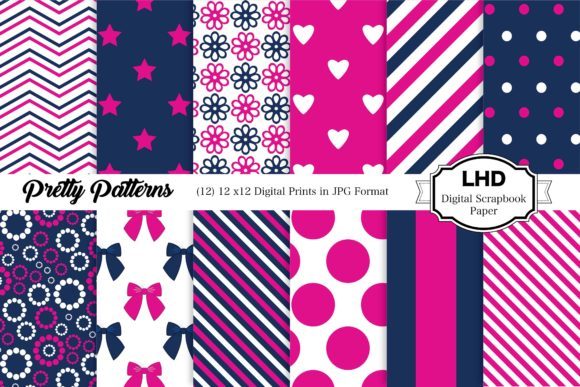 Pretty Patterns Digital Papers Graphic Patterns By LeskaHamatyDesign