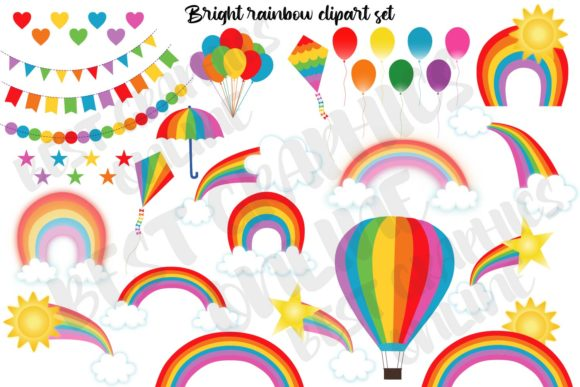 Rainbow Clipart Cloud Sun Cute Weather Graphic Illustrations By bestgraphicsonline