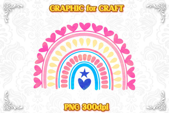 Print on Demand: Rainbow Vivid Cute Design Clipart PNG Graphic Crafts By numnim