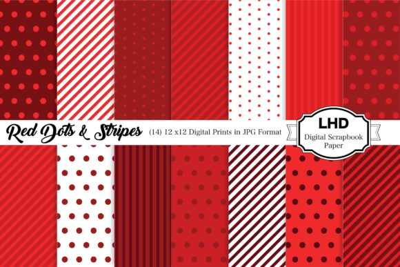 Red Digital Paper - Polka Dots & Stripes Graphic Patterns By LeskaHamatyDesign