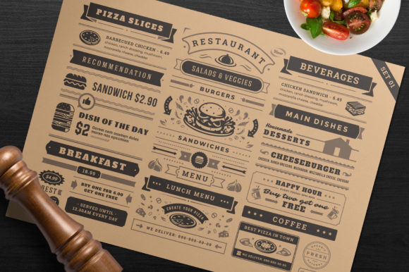 Restaurant Menu Typographic Elements Graphic Illustrations By vasyako1984