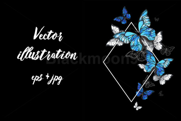 Rhombus Butterflies Morpho Graphic Illustrations By Blackmoon9
