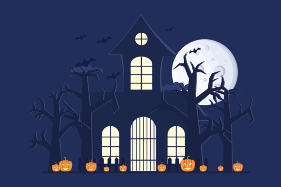 Scary Halloween Houses at Nighttime Graphic Illustrations By Delook Creative