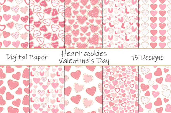 Seamless Patterns Heart Cookies Vector Gráfico Moldes Por shishkovaiv