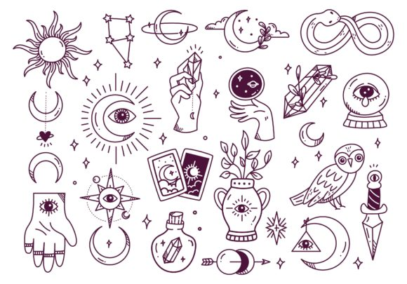 Set of Mystic Astronomy Doodle Graphic Illustrations By Big Barn Doodles