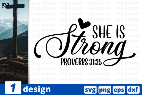 She is Strong Proverbs 31-25 Graphic Crafts By SvgOcean
