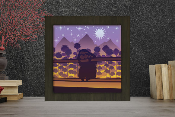 Simplified Sloth Light Box Shadow Box Graphic 3D Shadow Box By LightBoxGoodMan
