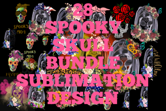 Skull with Flowers Sublimation Bundle  By CSDesign