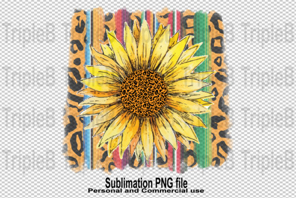 Print on Demand: Sunflower Serape Leopard Sublimation Graphic Illustrations By TripleBcraft