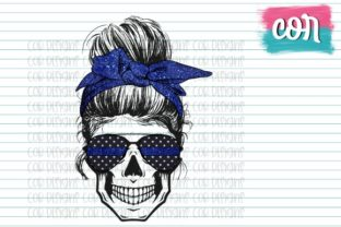 Print on Demand: Thin Blue Line Female Skull Graphic Crafts By designscor