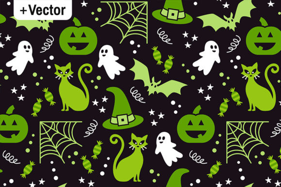 Print on Demand: Vector Halloween Party Pattern Green Graphic Illustrations By Dana Du Design