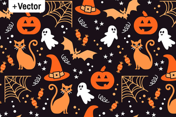 Print on Demand: Vector Halloween Pattern Orange Party Graphic Illustrations By Dana Du Design
