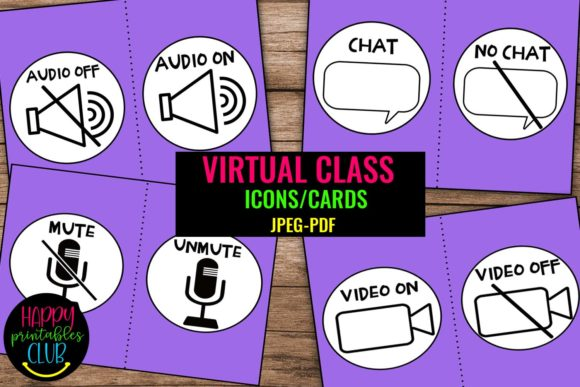 Print on Demand: Virtual Meeting Icons Posters - Online Graphic Teaching Materials By Happy Printables Club