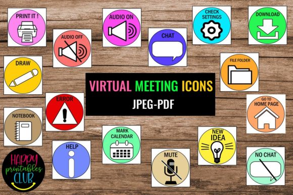 Virtual Meeting Icons / Signs-Teachers Graphic Teaching Materials By Happy Printables Club