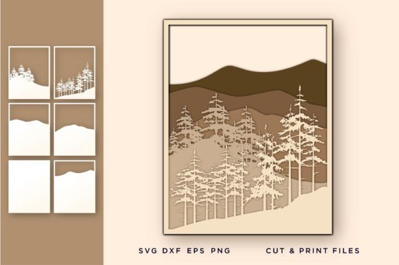 Wall Art 3D, Pine Tree, Mountain Graphic 3D SVG By 2dooart