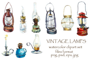 Watercolor Sketch Vintage Lamps Graphic Objects By Мария Кутузова