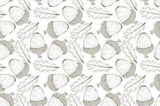 Acorn Nut Leaf Autumn Repeat Seamless Graphic Patterns By Ardwork