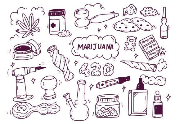 Set of Cannabis and Equipment Doodle Graphic Illustrations By Big Barn Doodles