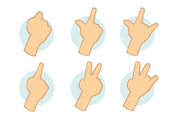 Set of Hand Gesture Vector Design Graphic Infographics By yellagraphic