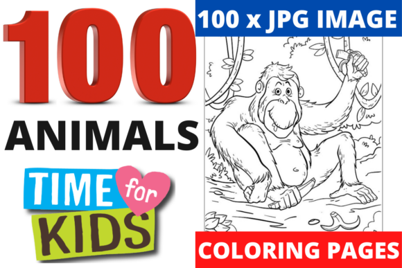 100 Coloring Animal Pages Bundle KDP Graphic