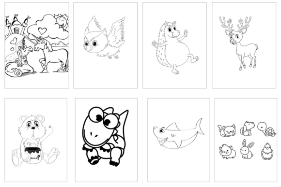 100 Coloring Animal Pages Bundle KDP Graphic Download
